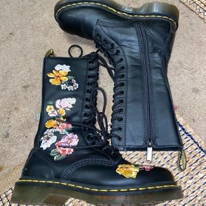 Dr marten floral embroider tall Moto combat boot 6